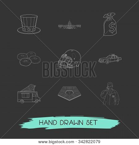 Set Of Usa Icons Line Style Symbols With Donuts, Sack Of Dollars, Uncle Sam Hat And Other Icons For