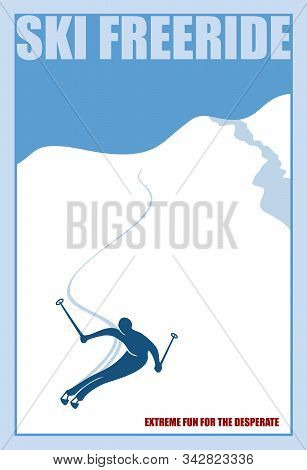 Minimalist Winter Poster. Ski Freeride. Vector Illustration