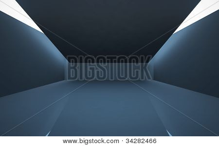 The dark interior of the abstract with the light passing from the crack in the ceiling.