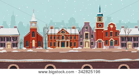 Urban Street Winter Landscape 18th Century With Residential, Government And Church Colonial Building