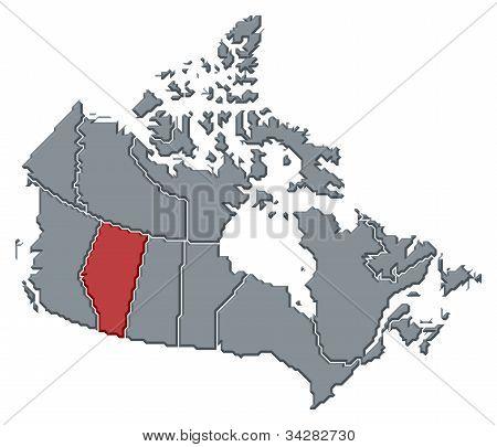 Karta över Kanada, Alberta belyst