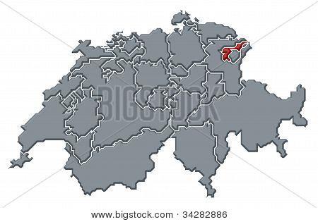 Map Of Swizerland, Appenzell Ausserrhoden Highlighted
