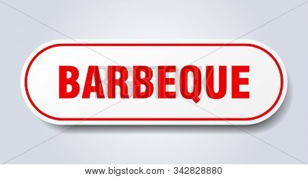 Barbeque Sign. Barbeque Rounded Red Sticker. Barbeque