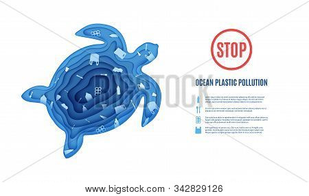 Silhouette Of A Turtle Cut Out Of Paper And Ocean Pollution Banner. Craft Underwater Ocean Deep Cave