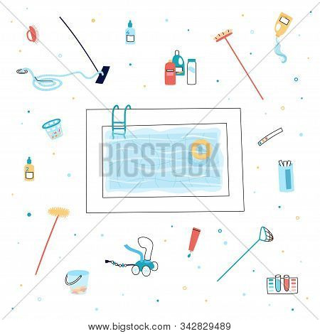 Vector Isolated Illustration Of The Swimming Pool Care Tools And Equipment. Brush, Vacuum Cleaner, A