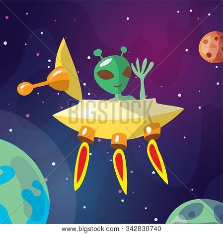 Cute Cartoon Illustration Of Ufo And Alian Creature Space Ship Landing On The Earth Or Exo Planet. C