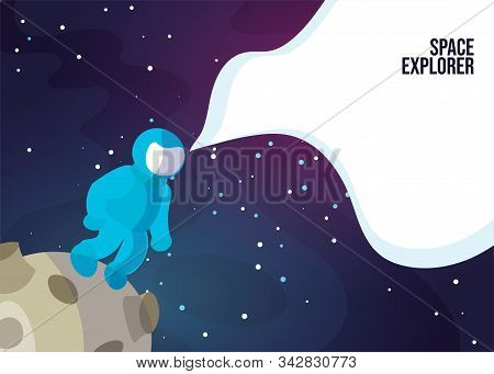 Astronaut Astronaut Walking On The Moon Or Asteroid. Space Exlorer Man In Blue Space Suit In Deep Sp