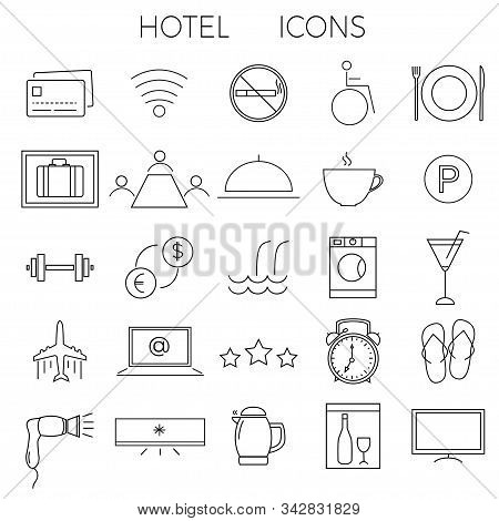 Set Of Modern Thin Line Icons For Illustrating Hotel Services And Amenities