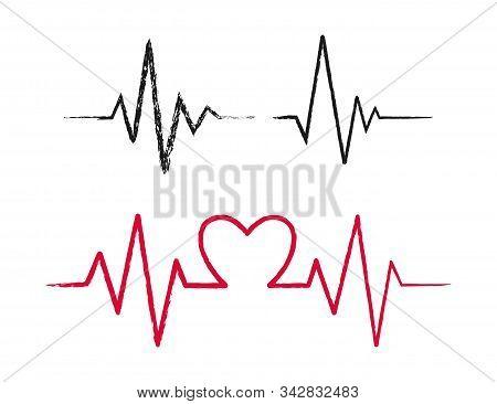 Hand Drawn Heartbeat Icons Set. Vector Illustration.