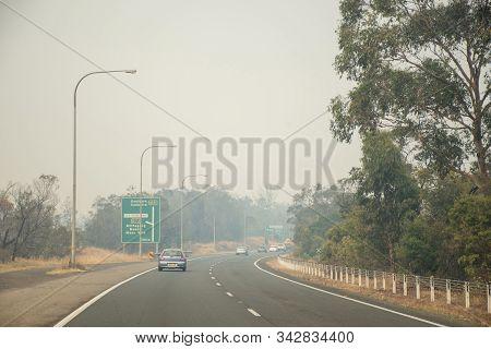 Sydney, Australia 2019-12-28 Australian Bushfire: Smoke From Bushfires Over The Hume Highway Near Al