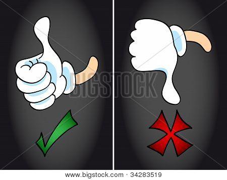 Thumb Up And Thumb Down Symbol