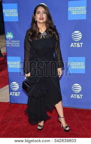 LOS ANGELES - JAN 02:  Salma Hayek arrives for the PSIFF Awards Gala 2020 on January 02, 2020 in Palm Sprimgs, CA