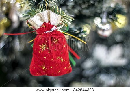 Christmas Composition. Gifts, Fir Tree Branches,  Top View, Copy Space
