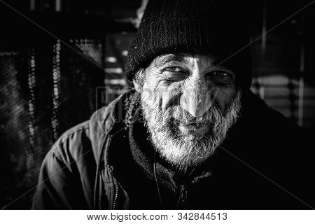 Smiling Homeless, Close Up Portrait Of Old Smiling Homeless Alcoholic Man Face With White Beard And