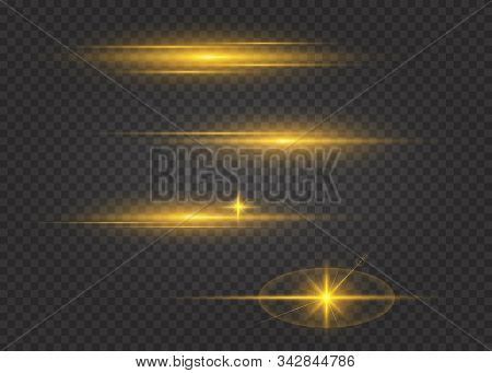 Set Of Flashes,lights And Sparks. Golden Lights Effects Isolated On A Transparent Background. Bright