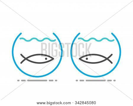 Two Fishes Separated In Fishbowls. Obstacle, Separation, Communication, Relationship, Yearning And I