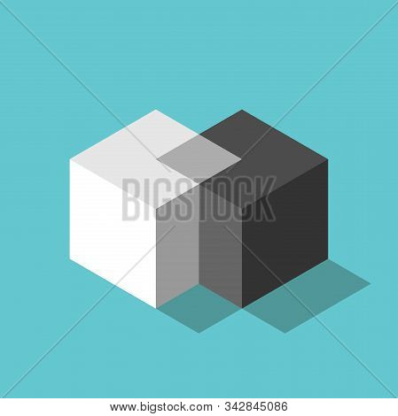 Cubes Merging. Merger, Teamwork, Negotiation, Unification Concept. Two Isometric White And Black Blo
