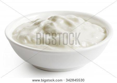 White Ceramic Bowl Of Skyr Yoghurt Isolated On White.