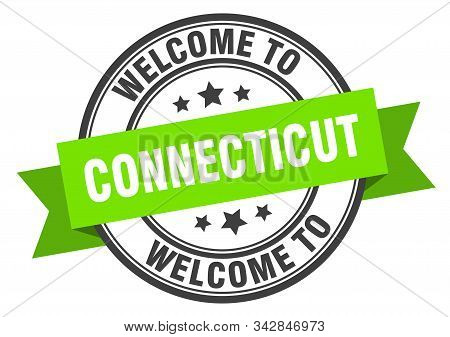 Connecticut Stamp. Welcome To Connecticut Green Sign