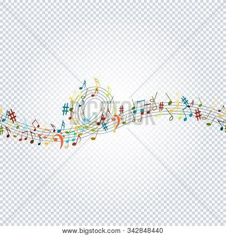 Seamless Pattern Musical Notes On Transparent. Musical Symbols For Banner Of Festival, Print Design,