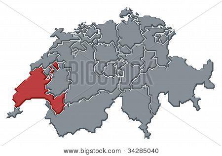 Map Of Swizerland, Vaud Highlighted