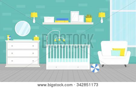 Lovely Baby Room Interior With Furniture. Crib For Newborn, Changing Table, Chest Of Drawers. Nurser