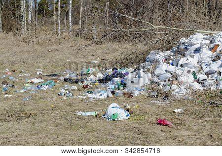 Vladimir, Russia April 18, 2019 Vladimir Region, Sudogodsky District Illegal Dumping Of Garbage On T
