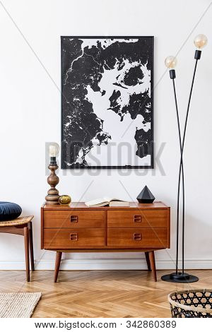 Interior Design Of Living Room With Retro Wooden Commode, Map Poster And Elegant Personal Accessorie