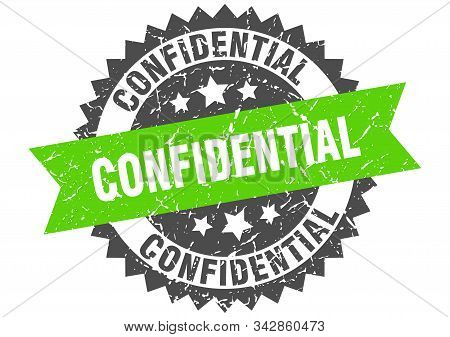 Confidential Grunge Stamp With Green Band. Confidential