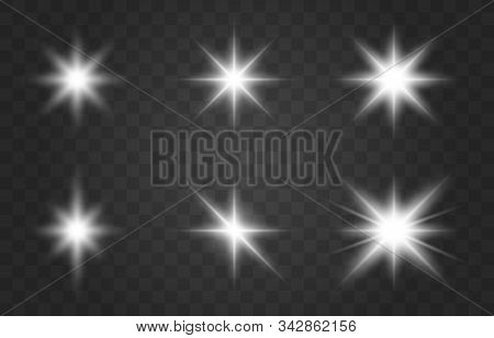 Glowing Lights Effect, Flare, Explosion And Stars. Set Of White Glowing Lights Effects Existing On A