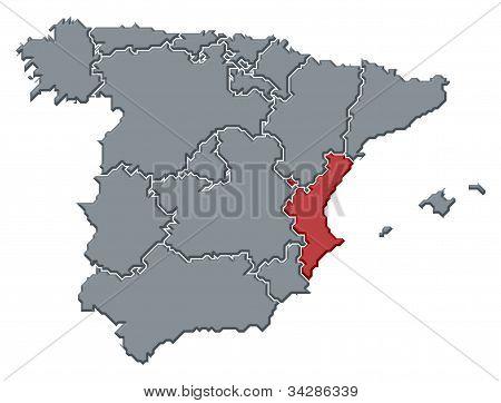 Karta över Spanien, Valencia belyst