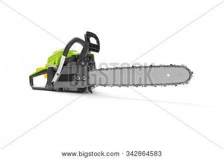 Chainsaw on white background, including clipping path