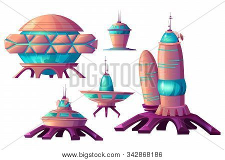 Space Colonization Cartoon Vector Set Illustrations. Spaceships And Rocket Or Shuttle For Universe E