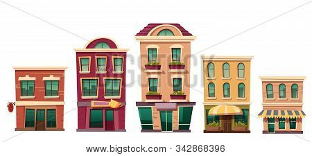 Urban Retro Residential Buildings With Small Shops And Cafe, Set Cartoon Vector Illustration. Vintag