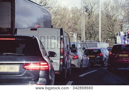 Heavy Congested Traffic On A Busy London Street