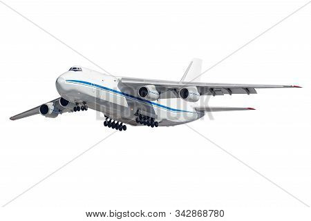 Flying Big Cargo Plane With Released Landing Gear Isolated On A White Background