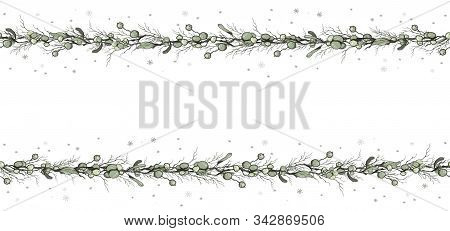 Seamless Border Decoration Of Flowers Mistletoe Branches And Grass. Hand-drawn Doodles In The Style