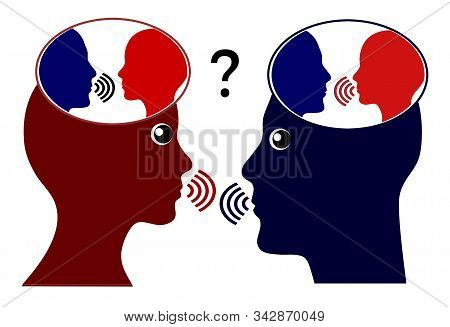 Caring About What Others Think. Two People Listen To Their Inner Voice While They Communicate With E