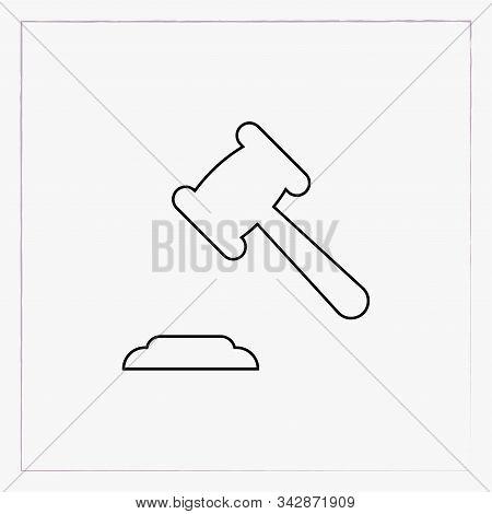 Judicial Gavel Linear Icon, Outline Black Symbol