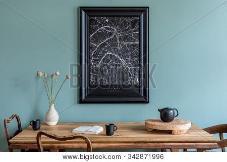 Stylish Scandinavian Dining Room Interior With Mock Up Poster Frame, Wooden Table, Chairs, Teapot Wi