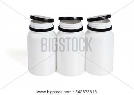Open Plastic Containers on White Background