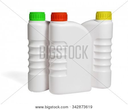 Plastic Containers for Engine Lubricants on White Background