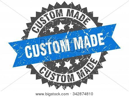 Custom Made Grunge Stamp With Blue Band. Custom Made