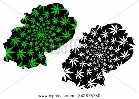 Dhale Governorate (governorates Of Yemen, Republic Of Yemen) Map Is Designed Cannabis Leaf Green And