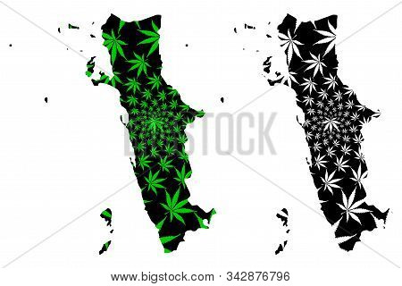 Al Hudaydah Governorate (governorates Of Yemen, Republic Of Yemen) Map Is Designed Cannabis Leaf Gre