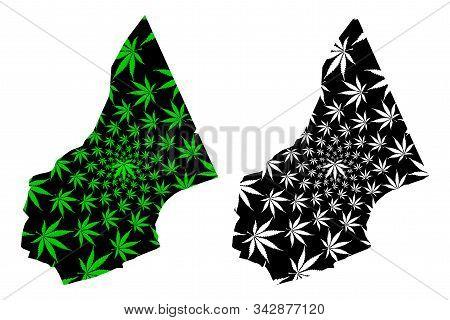 Al Mahrah Governorate (governorates Of Yemen, Republic Of Yemen) Map Is Designed Cannabis Leaf Green