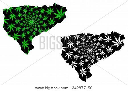 Al Mahwit Governorate (governorates Of Yemen, Republic Of Yemen) Map Is Designed Cannabis Leaf Green