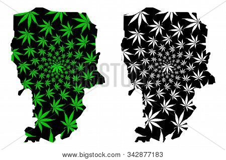 Amran Governorate (governorates Of Yemen, Republic Of Yemen) Map Is Designed Cannabis Leaf Green And