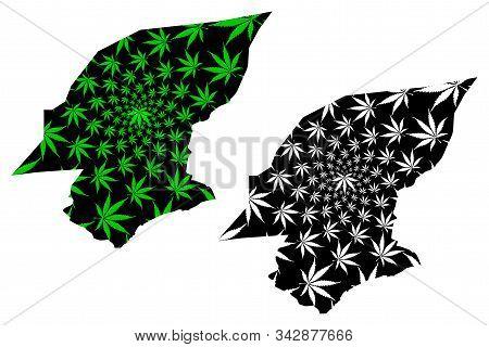 Hadhramaut Governorate (governorates Of Yemen, Republic Of Yemen) Map Is Designed Cannabis Leaf Gree