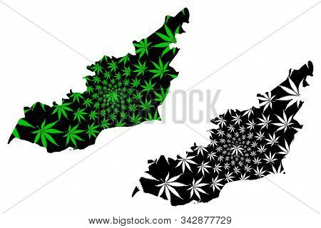 Lahij Governorate (governorates Of Yemen, Republic Of Yemen) Map Is Designed Cannabis Leaf Green And